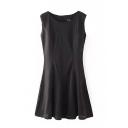 Black Round Neck Cutout Sleeveless Flare Dress