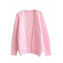 Plain Open Front Batwing Sleeve Knit Cardigan