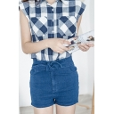 Plain Tie High Waist Zip Fly Denim Shorts
