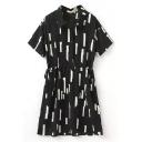 Geometric Print Lapel Short Sleeve Tied Dress