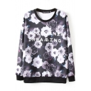 Black Long Sleeve Rose Letter Print Sweatshirt