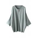 Batwing Sleeve Round Neck Zippered Sweater