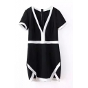 Black Background White Hem V-Neck Short Sleeve Shift Dress