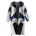 Colorblock Round Neck Open Front Long Sleeve Tunic Cardigan