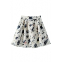 Floral Print Elasticated Back Pleated Mini Skirt
