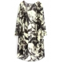 Ink Painting Print Long Sleeve Tunic Coat