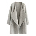 Plain Cuffed Long Sleeve Lapel Cardigan
