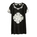 Floral Embroidery Round Neck Short Sleeve Lace Shift Dress