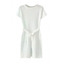 Plain Round Neck Tie Waist Split Hem Short Sleeve Knit Dress