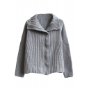 Plain Lapel Zip Front Long Sleeve Knit Cardigan