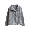 Plain Lapel Zip Front Long Sleeve Knit Cardigan