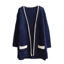Plain V-Neck Colorblock Trim Open Front Double Pocket Long Sleeve Cardigan