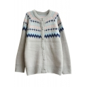 Geometric Pattern Round Collar Single-Breasted Long Sleeve Mohair Knit Cardigan