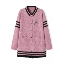 Stripe Knit Single-Breast Double Pockets Cardigan