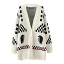 Bird Check Print Long Sleeve Single Breast Cardigan