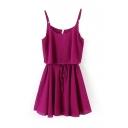 Plain Tie Waist Ruffle Hem Cami Dress
