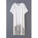 Short Sleeve Round Neck Metal Decoration Shift Dress