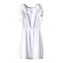 Plain Boat Neck Ruffle Trim Elastic Waist Dress