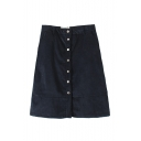 Plain Button High Waist Mini Skirt