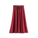 Plain Elasticated Belt Waist Pleated Maxi Skirt