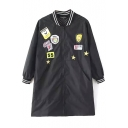 Black Stand Collar 3/4 Sleeve Patchwork Bomber Jacket