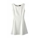 Plain Round Neck Sleeveless Flared Dress