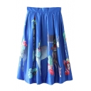 Animal Print High Waist Zip Back Pleated Midi Skirt