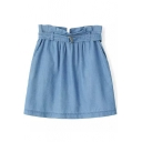 Plain High Waist Drawstring Pocket Mini Skirt