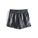 Plain Elasticated High Waist Dolphin Hem PU Shorts