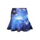 Galaxy Print A-line Skirt