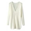 White V-Neck Long Sleeve Longline Sweater