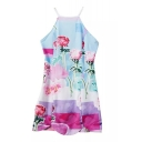 Rose Print Cross Back Halter Cami Dress