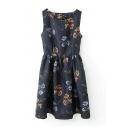 Black Sleeveless Cutout Back Floral Print Dress