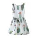 White Sleeveless Cactus Print Ruffle Hem Dress