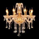 Luxurious Golden Light Handcut Crystal Pendants and Chains Candle Style Chandelier