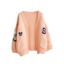 Cartoon Applique V-Neck Open Front Double Pocket Long Sleeve Knit Cardigan