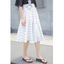 Plaid Tie Waist Pleated Maxi Skirt