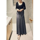 Plain Drawstring Slit Side Maxi A-Line Skirt
