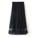 Plain Elastic Waist Chiffon Insert Midi Flared Skirt