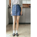 Plain Button Fly Denim Mini A-Line Skirt