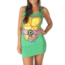 Cartoon Ninja Turtles Print Bodycon Tank Dress
