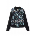 Abstract Print Stand Collar Long Sleeve Bomber Jacket