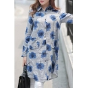 Flowers Print Long Sleeve Lapel Single-Breasted Tunic Shirt