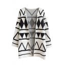 Geometric Pattern V-Neck Long Sleeve Open Front Cardigan