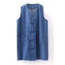 Blue V-Neck Double-Breasted Sleeveless Raw Hem Tunic Denim Vest