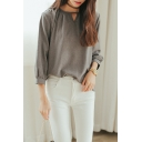 Cutout Collar Long Sleeve Long Sleeve Shirt