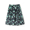 Flower Print Elastic Waist Zip Back Flared Midi Skirt