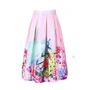 Peacock Print Elastic Waist Pleated Midi Skirt