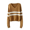 V-Neck Long Sleeve Stripe Knit Sweater