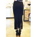 Plain Ripped Knit Pencil Maxi Skirt